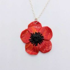 Ooak handmade red and orange polymer clay poppy necklace