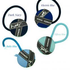 Hermes ribbon hairband/ hairtie- navy blue