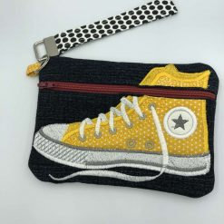 Handcrafted Converse shoe bag / pouch with wristlet /denim yellow