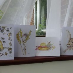 Set of 4 different greetings cards from original artwork by Teresa Rose. Free Postage UK