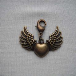 Heart Angel Wings Bag Charm/Stitch Marker