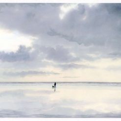 Very limited edition A4 print from an original watercolour painting 'Digger', figure and dog on beach