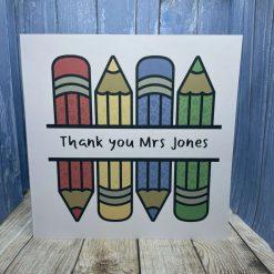 Thank you teacher card -pencils