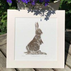 Rabbit print, Original limited edition linocut / lino print of a cute Rabbit entitled 'Cottontail'