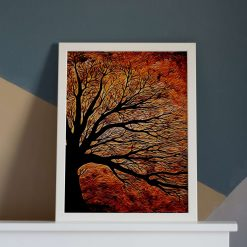 Tree Art Print, Flame Oak, From Acrylic Painting, A4 Size by Cornish Artist, Free UK Postage