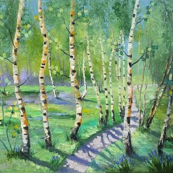 Birch trees oil palette knife painting on canvas. 20'' x 16''