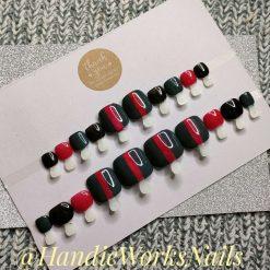 Designer Style Press On Toe Nails Set, Custom Made