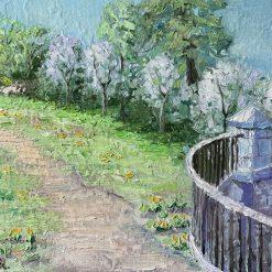 Landscape oil palette knife painting.10'' x 12''