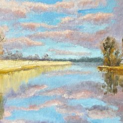 Cloudy sky over the lake oil painting.10'' x 12''