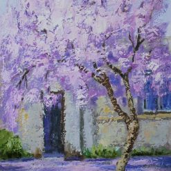 Lilac tree blossom oil painting . Unframed.