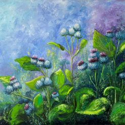 Wildflowers oil painting on a large canvas.