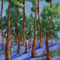 Forest oil painting mixed media.Unframed. A3