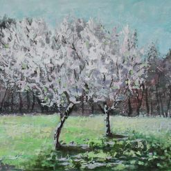 Apple blossom-blooming trees painting-unframed .11.7'' x 16.5''