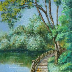 Landscape oil painting. Pond painting.A3 size
