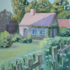 Cottage oil painting on paper