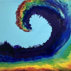 Rainbow Wave - Abstract acrylic original and unique painting