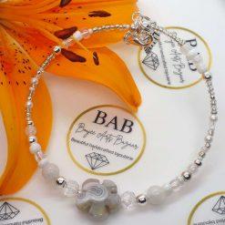 Silver beaded bracelet with semi-precious stones.