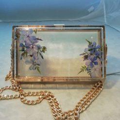 SOLD Hand dried cornflower blue flower bouquet clutch bag  SOLD