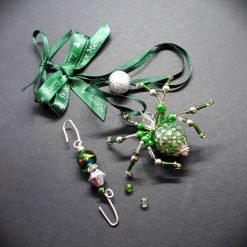 Beautiful sparkly, pale green beaded spider, Christmas tree decoration.