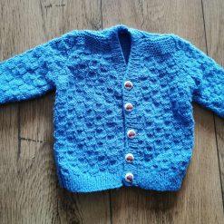 Baby boys  handknit blue dk cardigan