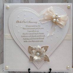 Luxury Handmade Pearl Anniversary (30Years) layered heart card