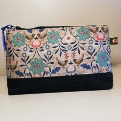 Make Up Bag, Cosmetic Bag, Pencil Case. Handmade Cotton & Denim Bag