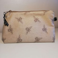 Make Up Bag, Cosmetic Bag, Pencil Case, Handmade. Bee Fabric - Natural Linen Look fabric. Handwash and Cool Iron.