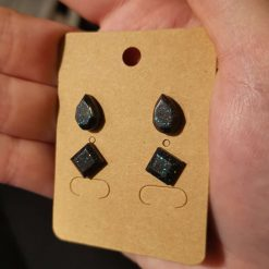 Black multi glitter Studs on a silver plated stud, reinforced with epoxy for a secure fit, free UK delivery