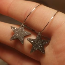 Black Glittery Star Hoops, on a Silver plated hoop with Free UK Delivery