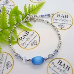 Blue and Silver, cats eye and crystal bracelet.