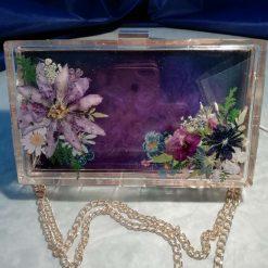 SOLD Hand dried flower bouquet deep purple clutch bag SOLD