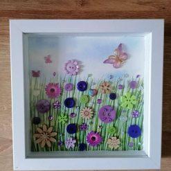 Purple flower meadow box frame, home decoration (free p&p)