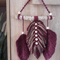 Burgundy macrame feathers on birch wood/home decoration (free p&p)