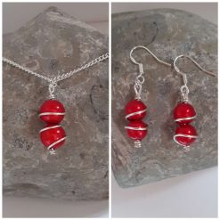 Wire Wrapped Red Pendant Necklace and Earrings Set