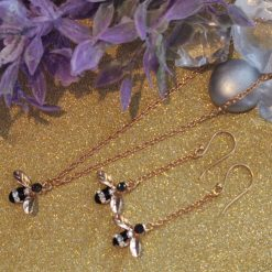 Bumble Bee Sparkle Neckalce and Earrings Gift Set