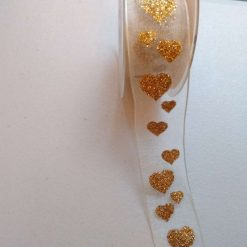 Glitter hearts organza white and silver wired ribbon 38mm