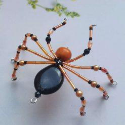 Halloween Orange and Black Beaded Spider