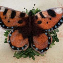 Tortoiseshell Butterfly, handmade, needle felted art sculpture