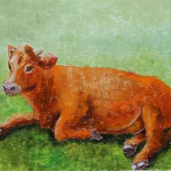 Ginger cow oil painting on paper.A4 size