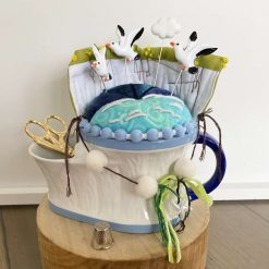 Decorative Pin Cushion Sewing Gift  Sewing Essentials  Caddy Notions Tidy Stork Scissors Handmade Seagull Cloud Embroidered Gift