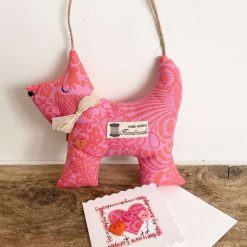 Hanging Dog Shaped Gift Dog Lover Ornament Cotton Fabric Bow Tag Orange Pink