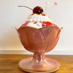 Novelty Pin Cushion Gift Sundae Dish Pin Cushion Lustre Vintage Maling Ceramic Pink