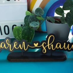 Personalised Couples Name Sign, Free Standing Wood Anniversary, Wedding, New Home Gift, Personalised Wooden Name Plaque