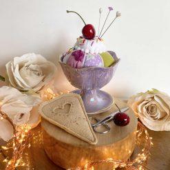 Novelty Pin Cushion Gift Sundae Dish Pin Cushion Lustre Vintage Maling Ceramic Mint