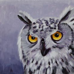 Owl oil painting on paper