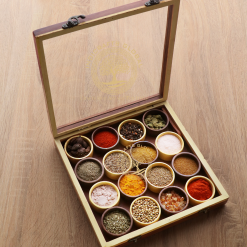 Dual-Tone Wooden Handcrafted Spice Box/ Masala Dabba Dual Tone with 16 Round Compartments and Spoon, Sheesham Wood Spice Box Set