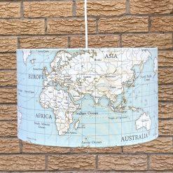 Handmade Fryetts WORLD MAP Duck Egg Lampshades
