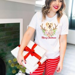 Merry Christmas Labrador - Ladies T-Shirt (UK Sizes 8-40) - Design by Handmade By Pixies - Made to Order