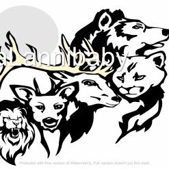 Moon & Animals SVG | Cricut | Silhouette | CNC ESP DXF JPG PNG PDF