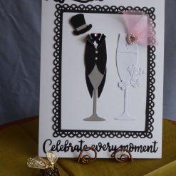 Bride & Groom Champagne Flute Wedding Card